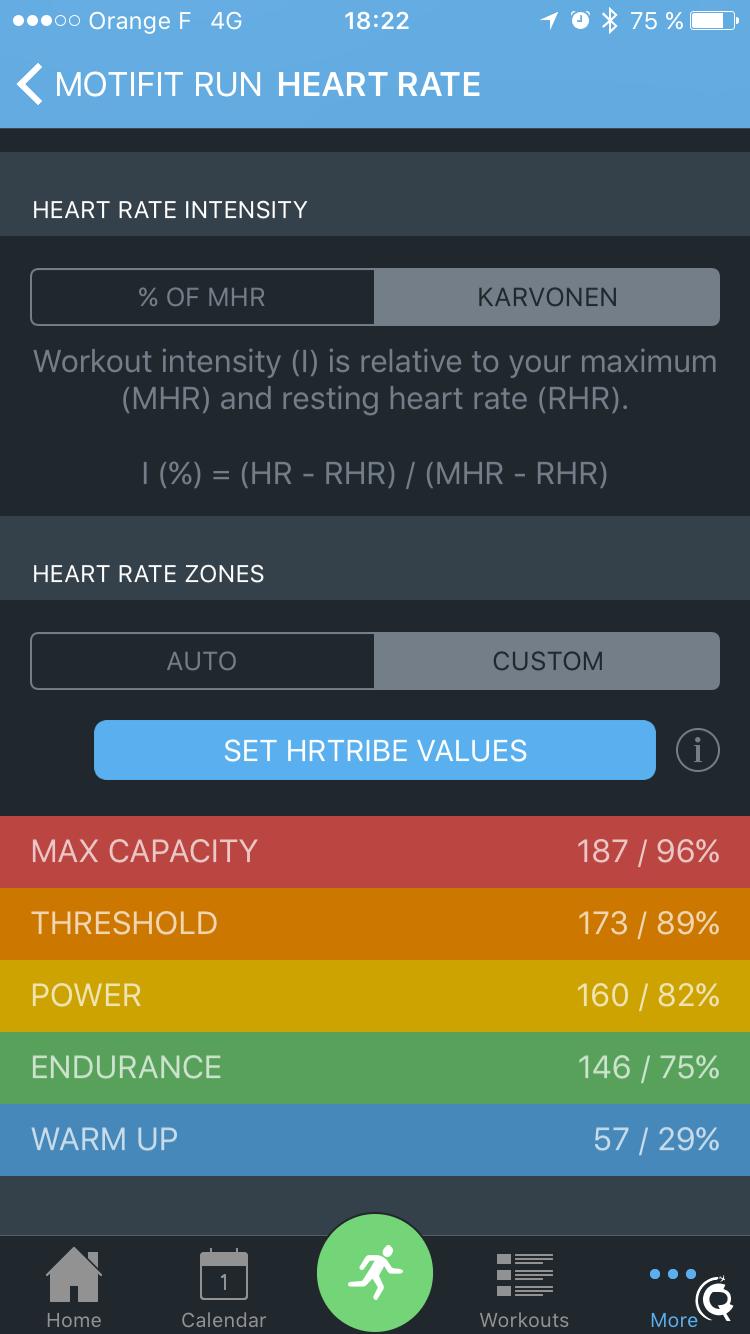Les zones de fréquence cardiaque (ici elles sont définies manuellement)