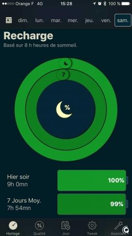 """La mesure que je consulte le plus : mon pourcentage de """"recharge"""" sur les 7 derniers jours (est-ce-que j'ai eu mes 8h de sommeil en moyenne)"""