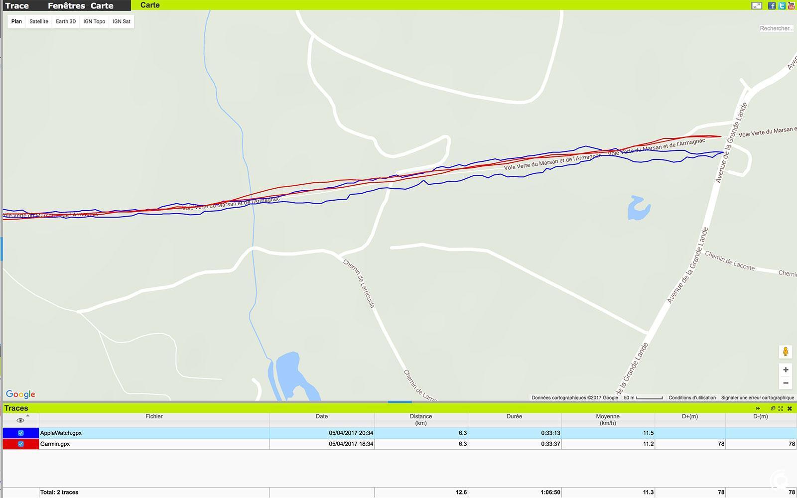 Comparaison de la trace GPS de la Garmin 220 et de l'Apple Watch Series 2