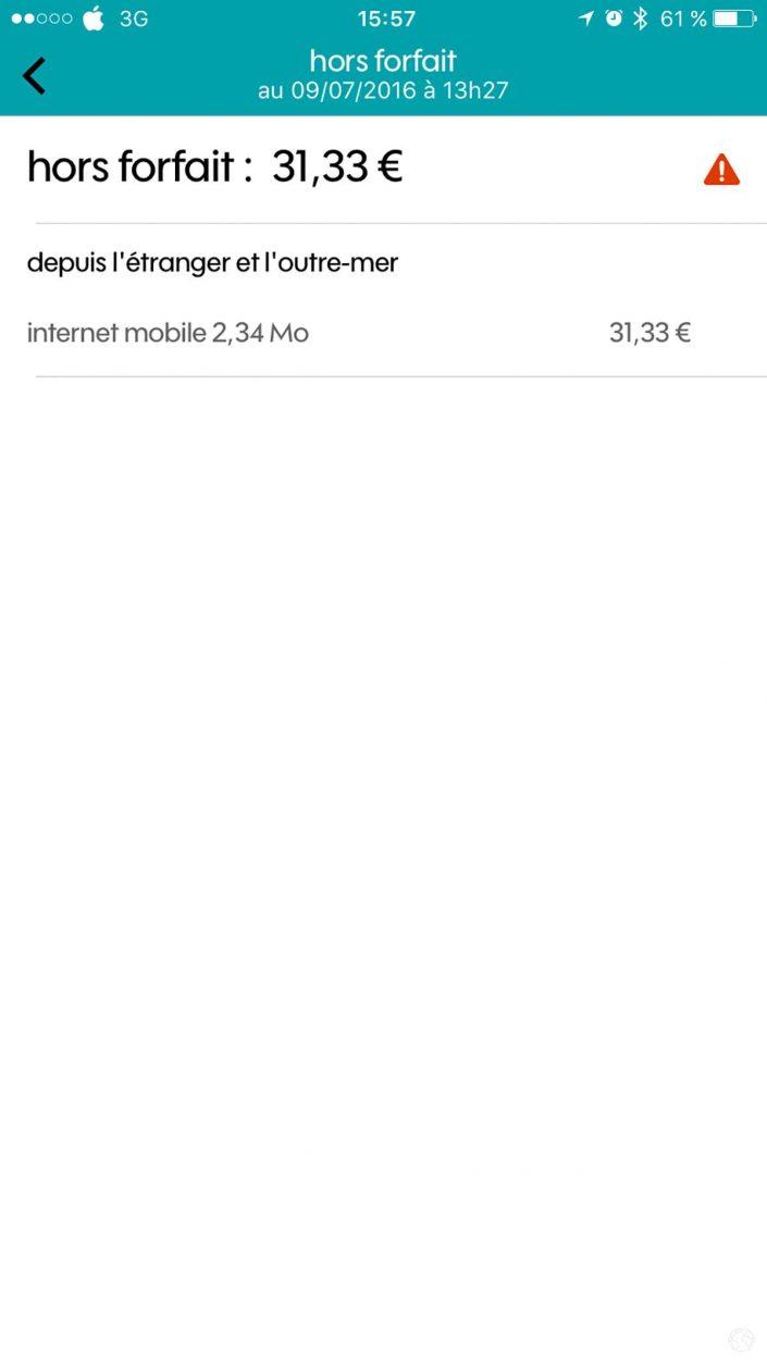 capture d'écran iPhone hors-forfait en Corse