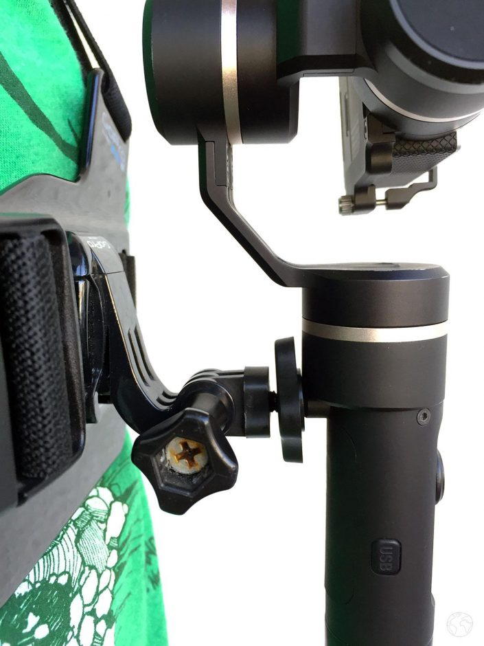 Feiyu fixé sur le harnais GoPro avec adaptateur vis 1/4