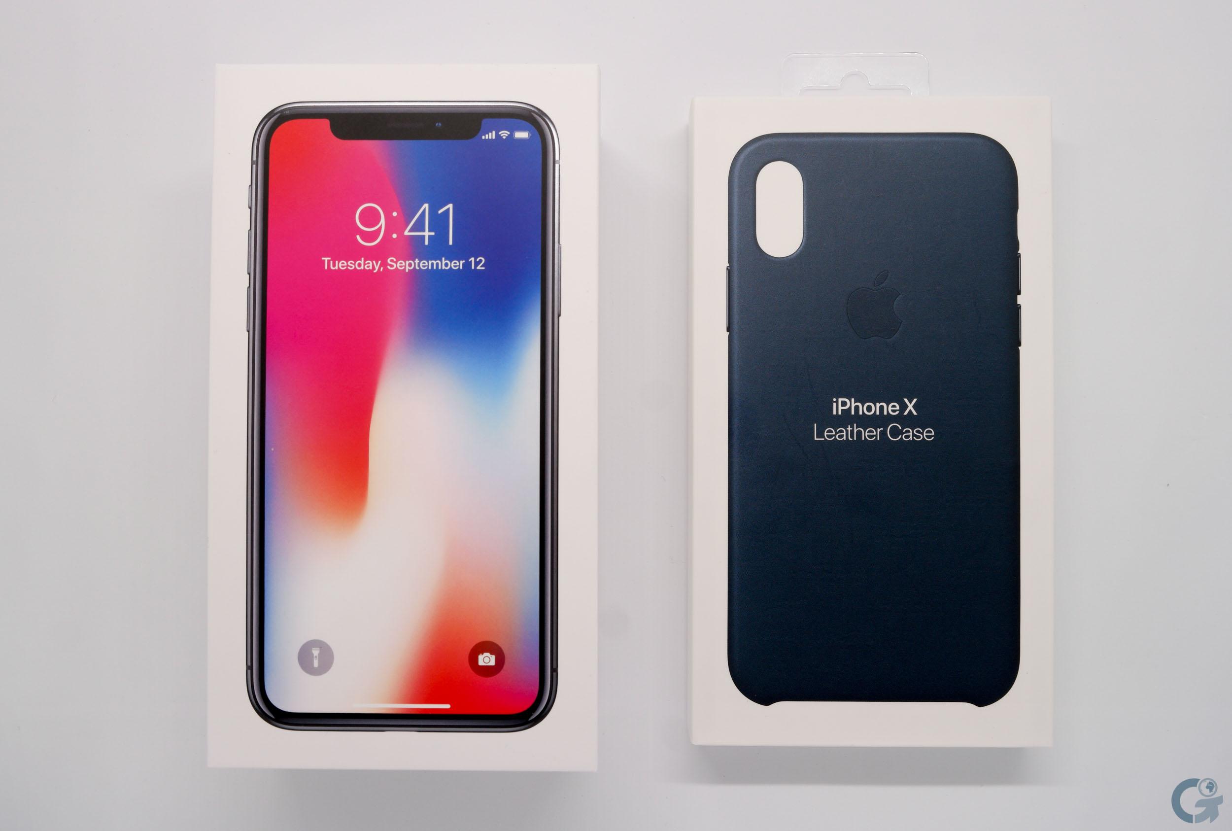 Boîte iPhone X & Leather Case Apple Bleu Cosmos