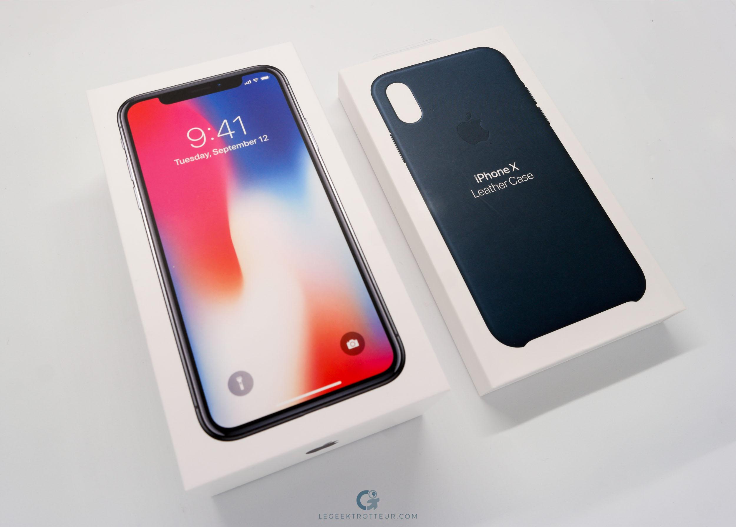 Boîtes iPhone X & Leather Case Apple Bleu Cosmos
