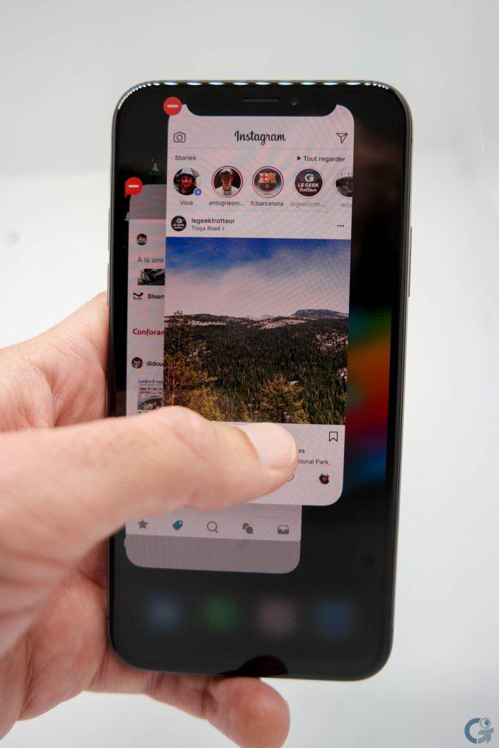 Le système de multitâche sur l'iPhone X