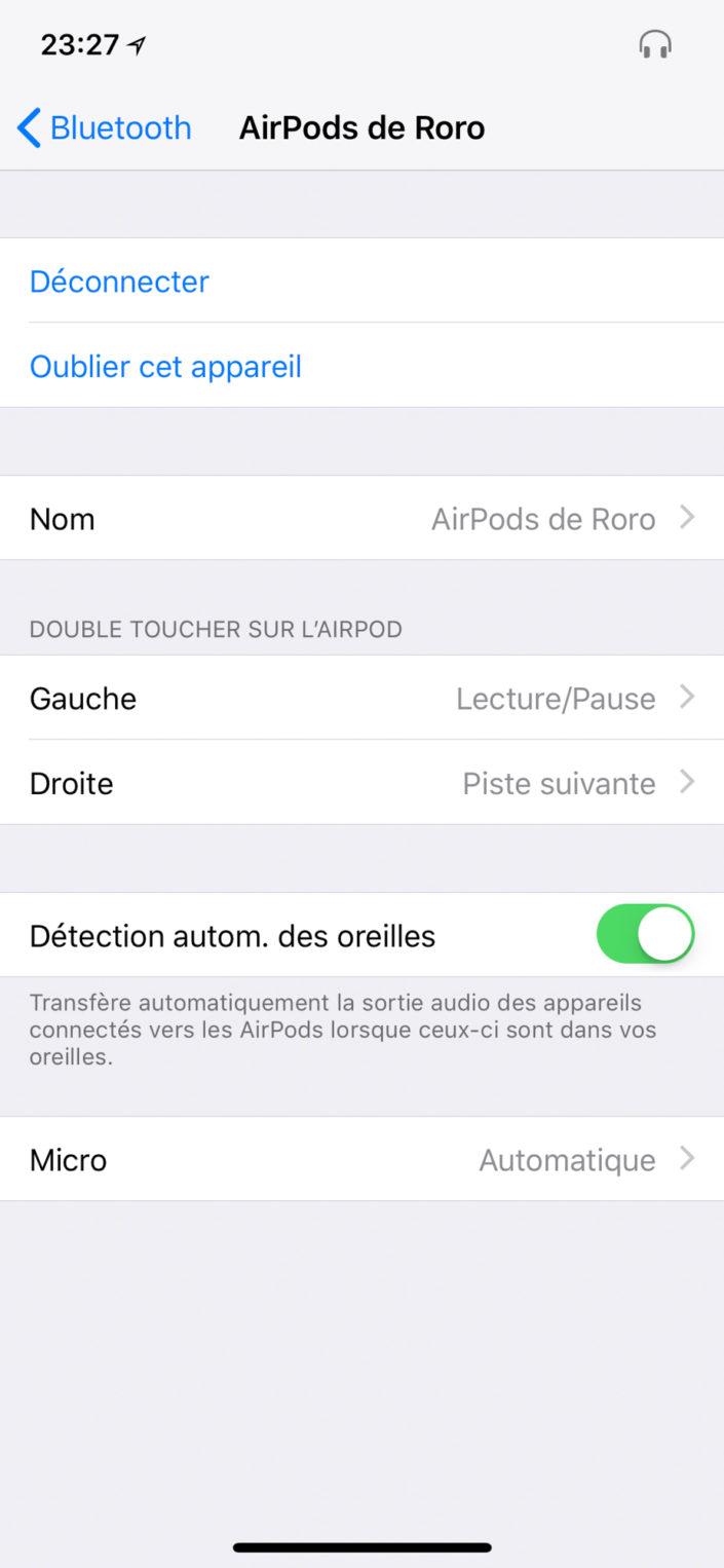Les différents réglages des AirPods d'Apple