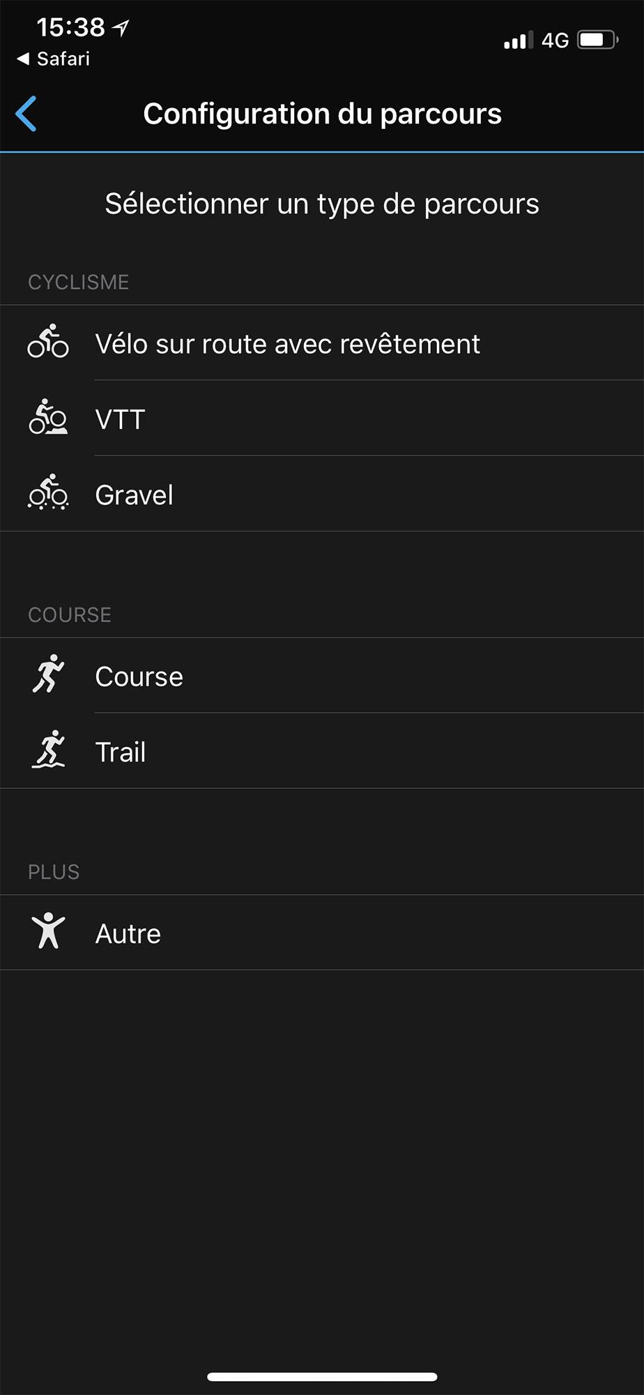Sélectionner le type de parcours sur l'application Garmin Connect
