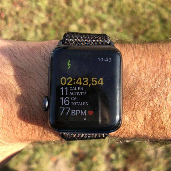 L'écran d'une séance de course à pied sur Apple Watch