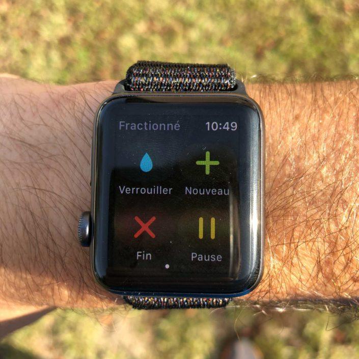 L'écran d'une course à pied sur Apple Watch