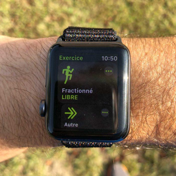 Le menu pour lancer une séance en fractionné sur l'Apple Watch