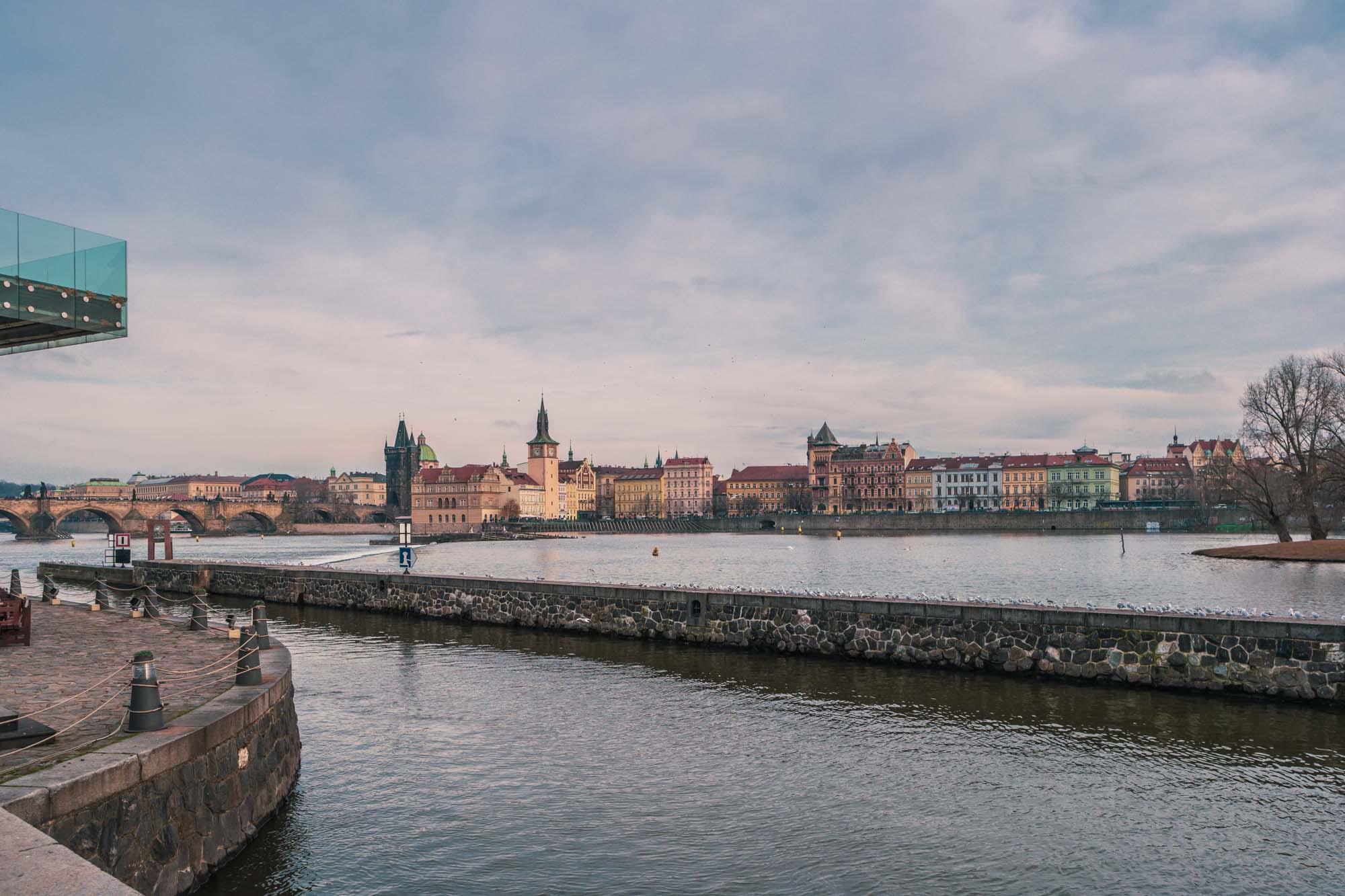 Les rives de la Vltava depuis le parc Kampa à Prague