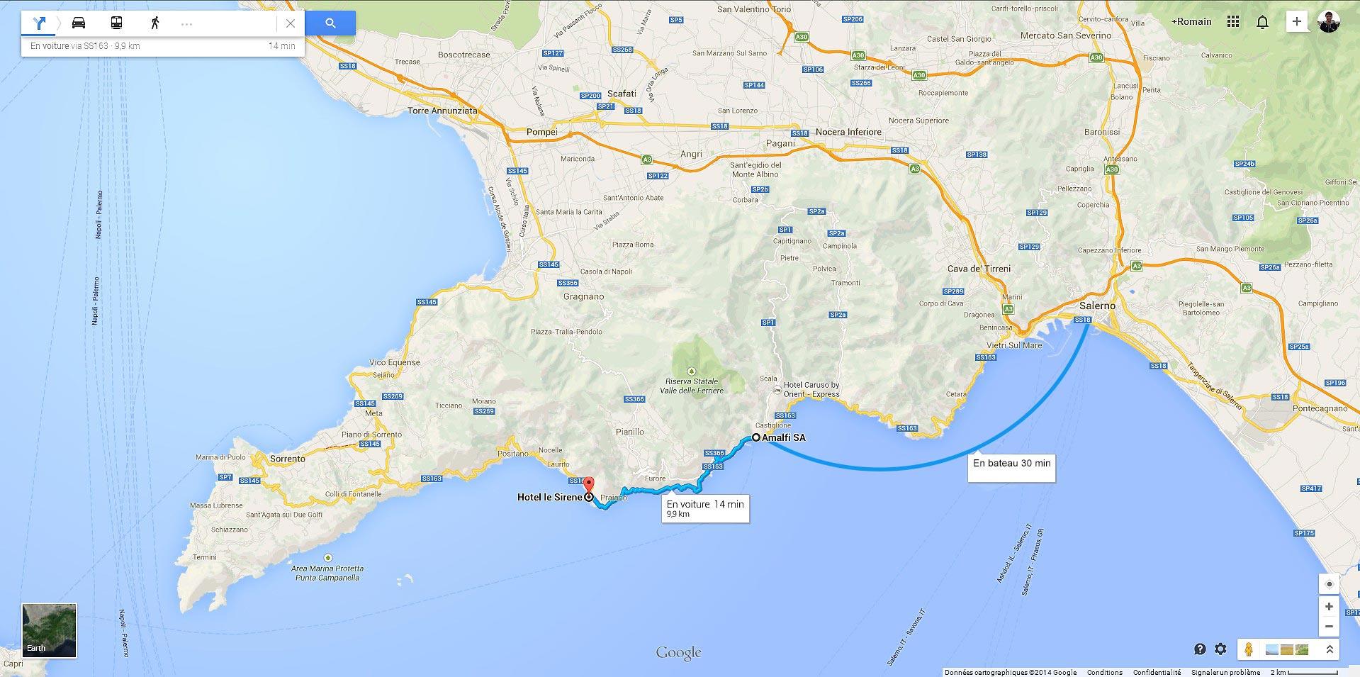 Notre trajet de Salerne à notre hôtel à Praiano