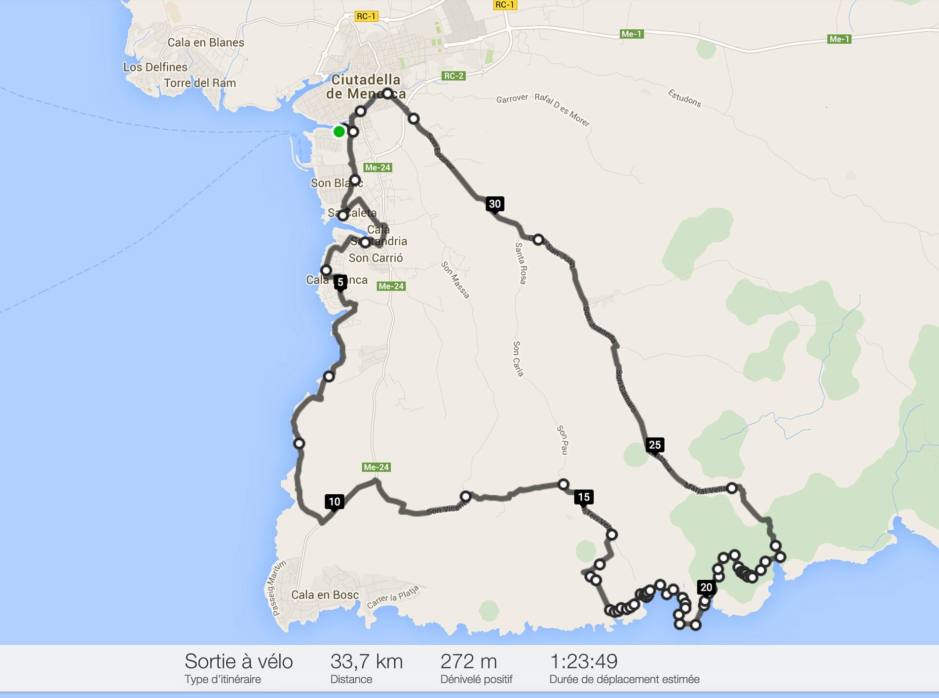 Notre itinéraire à vélo de Ciutadella à Es Talaier