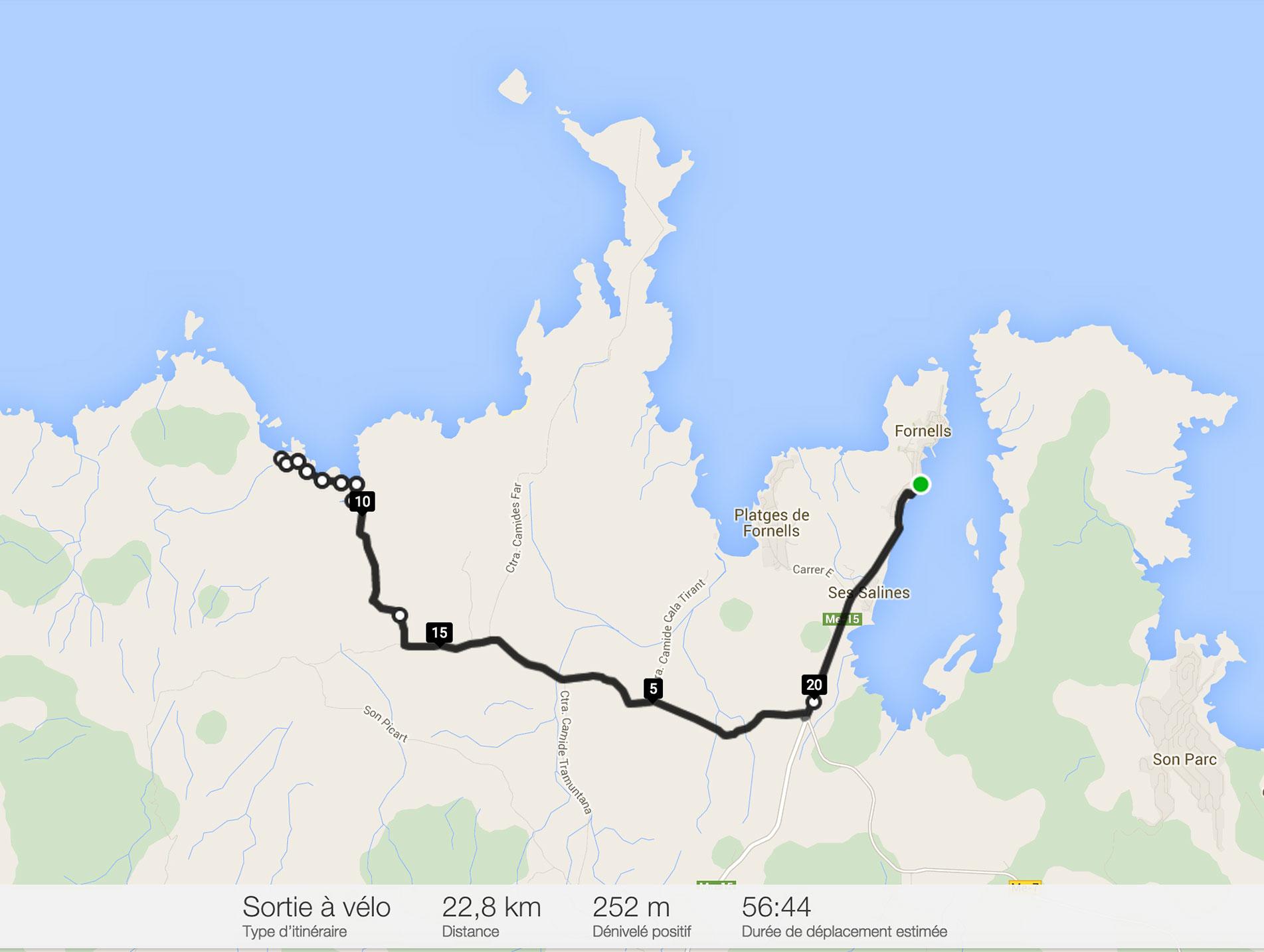 Notre itinéraire à vélo de Fornells à la cala Pregonda