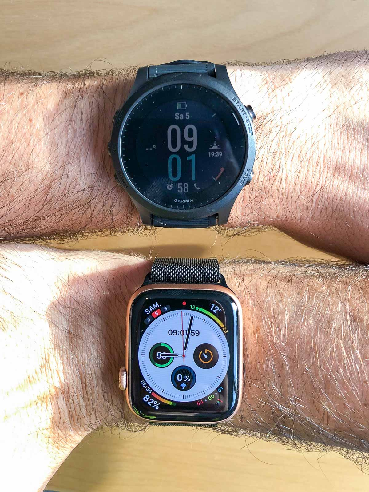 Comparaison Garmin 945 / Apple Watch Series 5