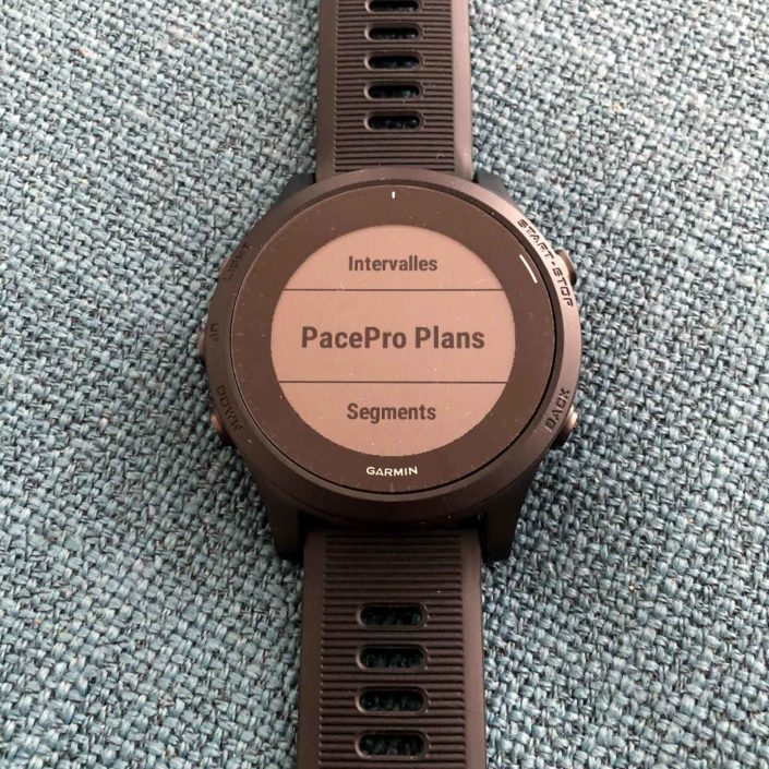 On retrouve nos stratégies PacePro dans les options de l'activité.