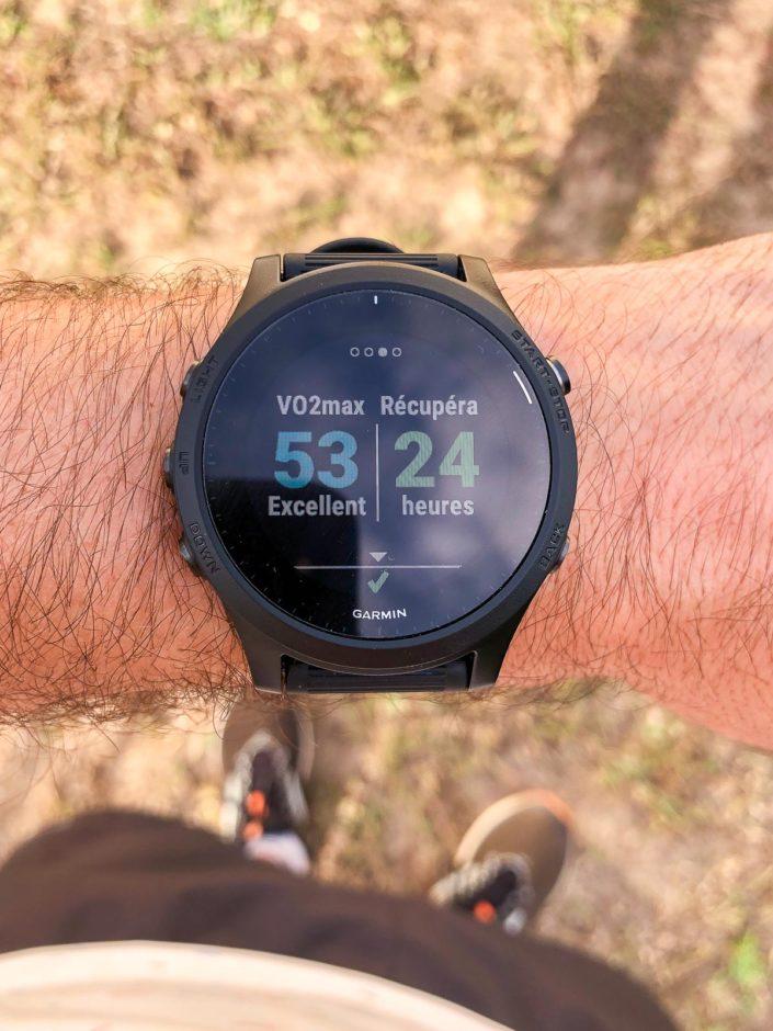 L'écran des indicateurs de VO2Max et récupération.