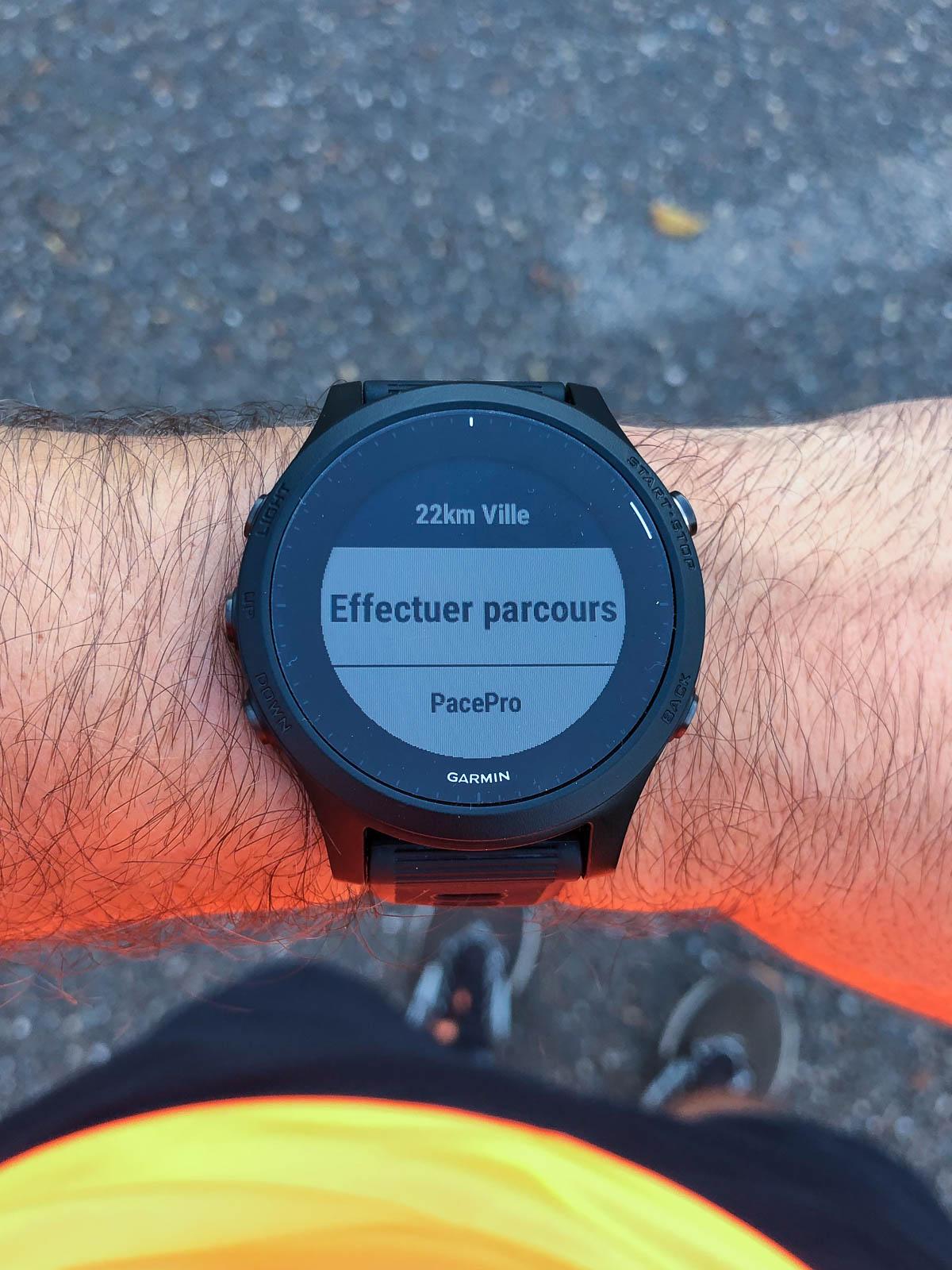 On peut créer un plan PacePro depuis un parcours sur la montre