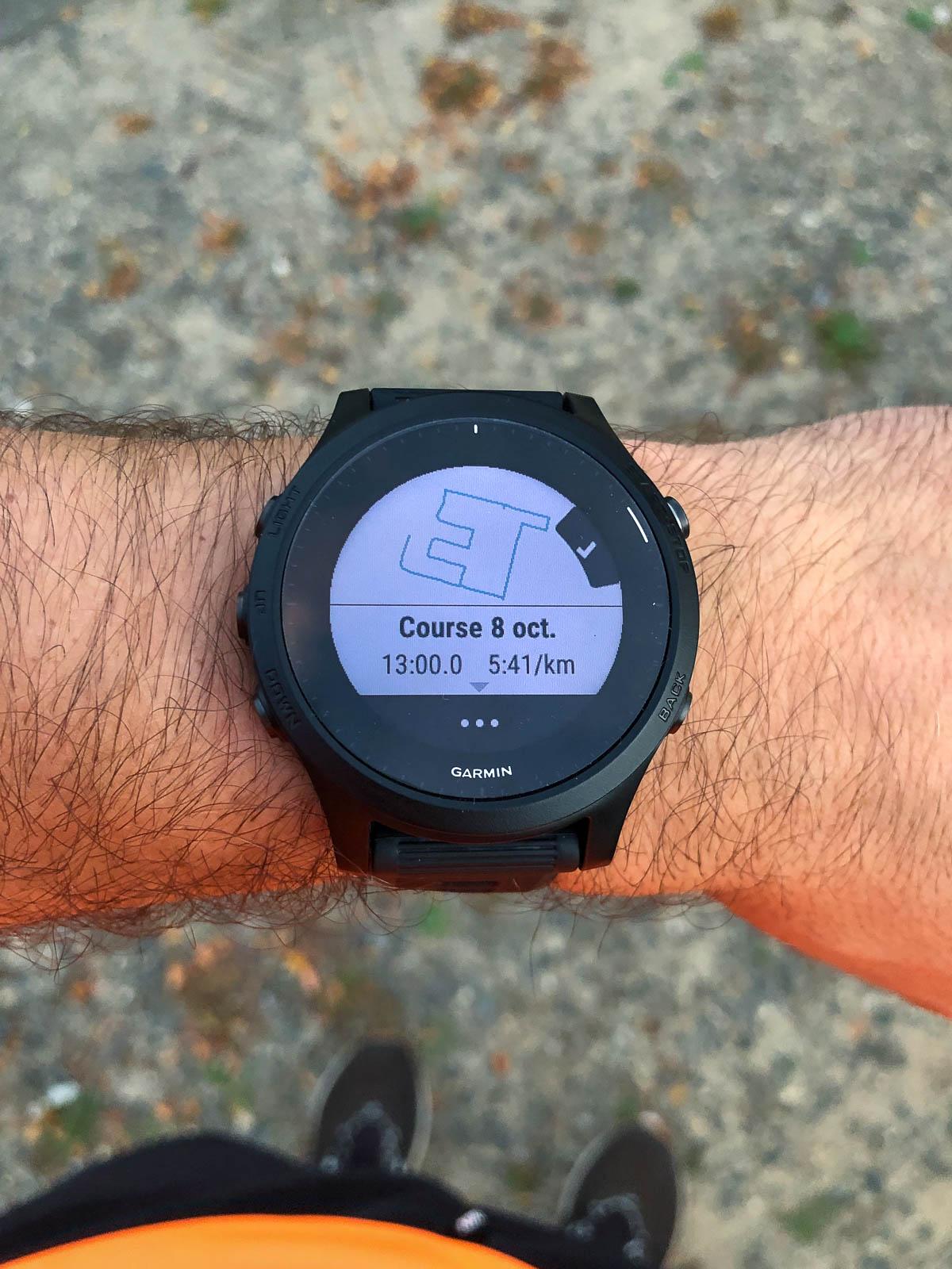 Et voici le plan PacePro tout fraichement créé à partir d'un itinéraire lui aussi généré aléatoirement depuis la montre.