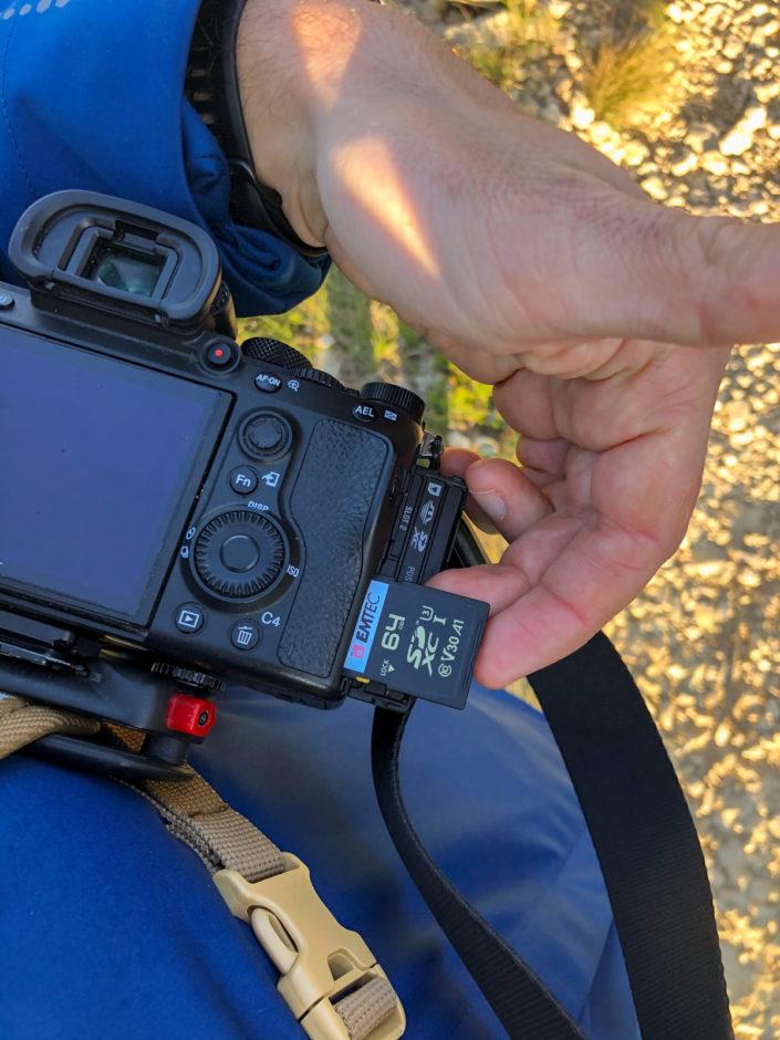 Carte SD Emtec 64GB Classe 10 UHS-1 U3 V30 et Sony A7 III