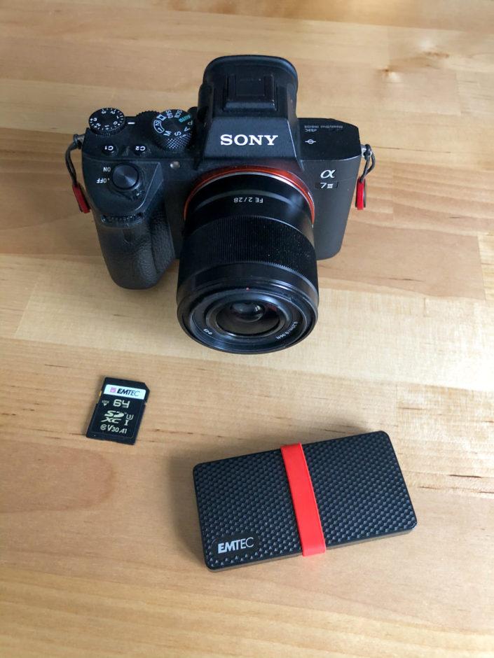 Carte SD Emtec 64GB Classe 10 UHS-1 U3 V30, Sony A7 III, Emtec X200