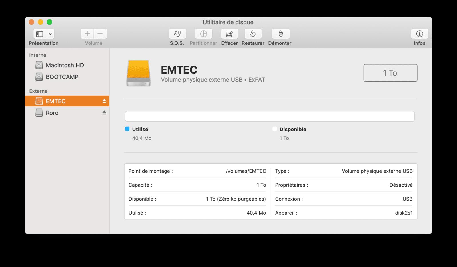 Formatage Emtec X200 ExFAT