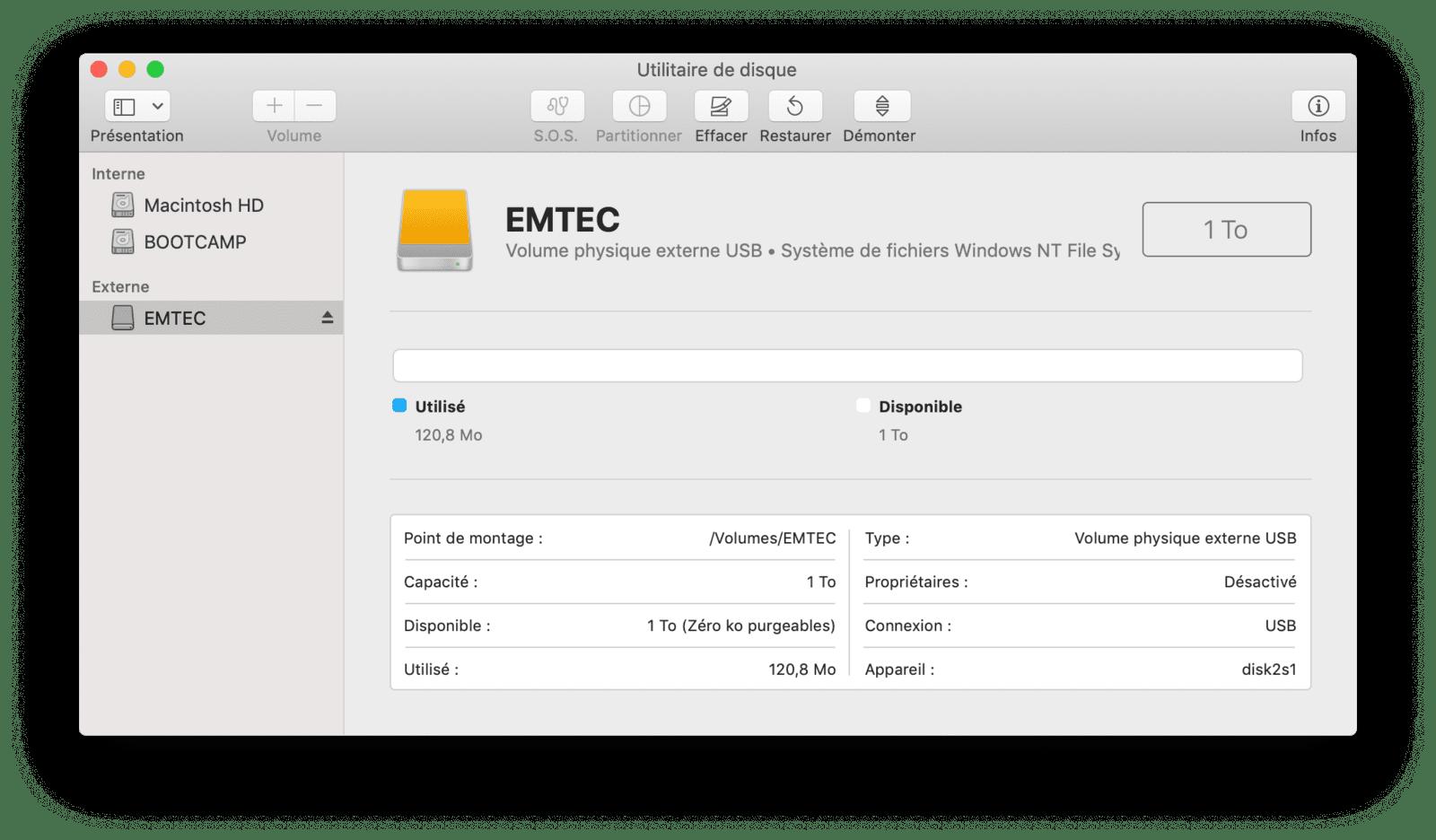 Emtec X200 NTFS par défaut