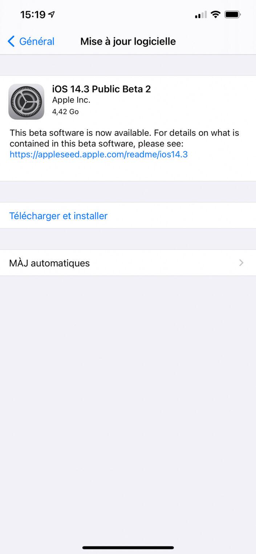 Installation de la beta 2 d'iOS 14.3