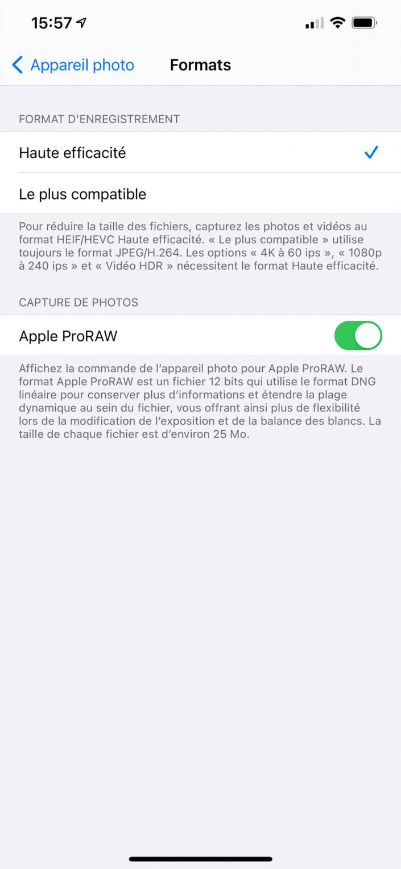 Apple ProRAW - iOS 14.3 beta