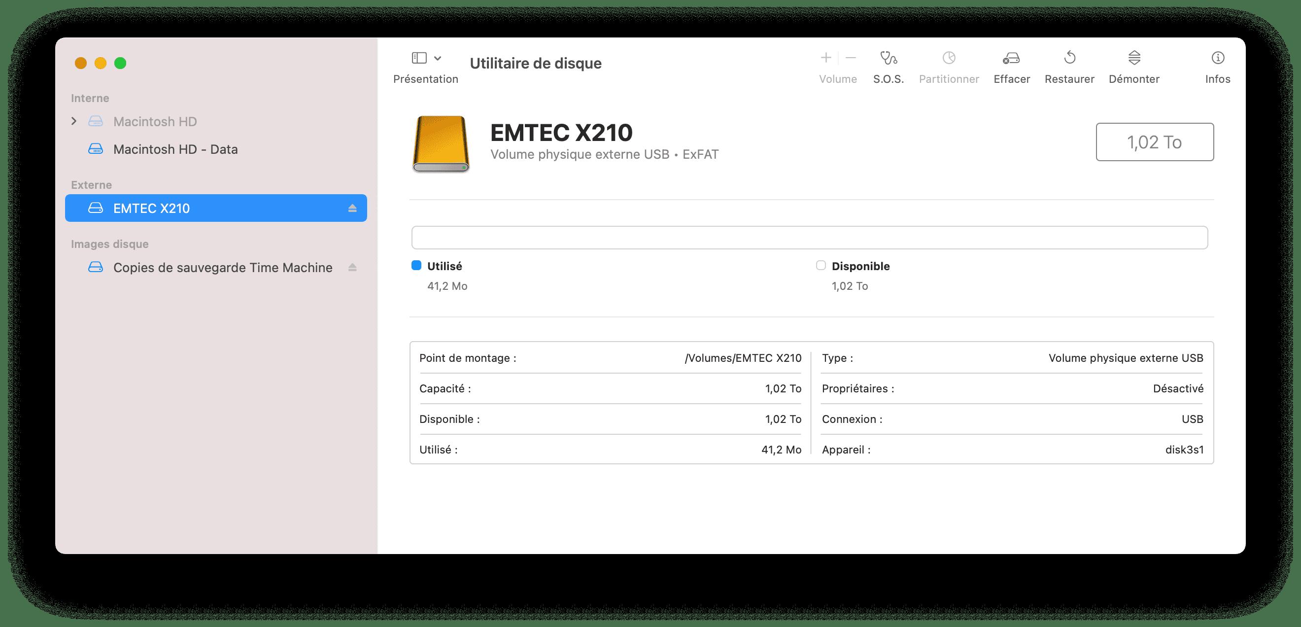 le X210 est livré au format exFAT par défaut
